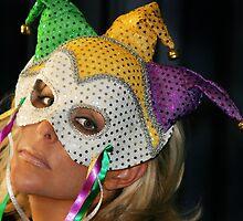 Blond Woman with Mask by Henrik Lehnerer