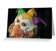 Blond Woman with Mask Greeting Card