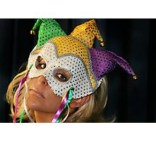 Blond Woman with Mask Photographic Print