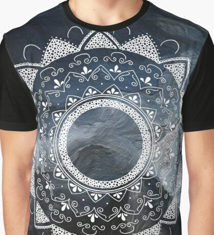 Asana blue and white hand drawn mandala Graphic T-Shirt