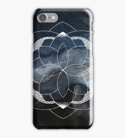 Concentration blue and white hand drawn mandala iPhone Case/Skin