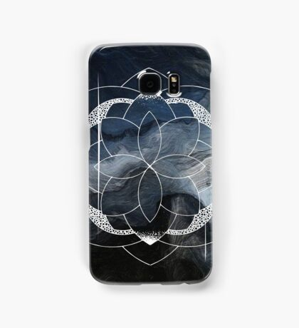 Concentration blue and white hand drawn mandala Samsung Galaxy Case/Skin