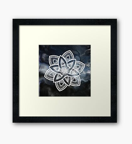 Authentic blue and white hand drawn mandala Framed Print