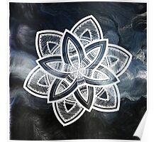 Authentic blue and white hand drawn mandala Poster