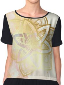 Centered and open pink and white hand drawn mandala Chiffon Top