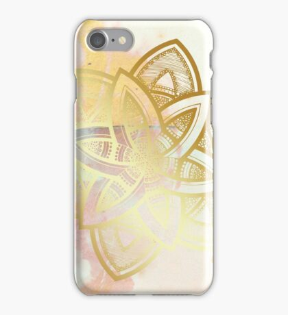 Centered and open pink and white hand drawn mandala iPhone Case/Skin