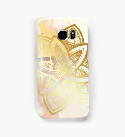 Centered and open pink and white hand drawn mandala Samsung Galaxy Case/Skin
