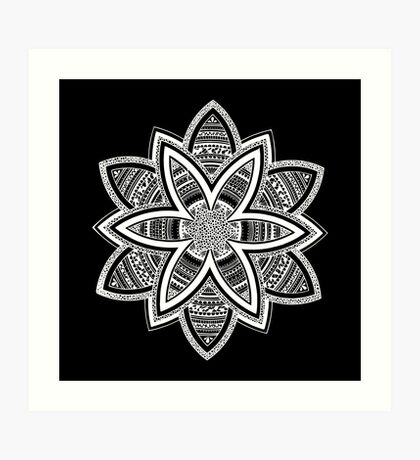 Wholness black and white mandala Art Print