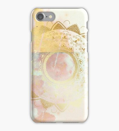 Quiet your mind pink and white hand drawn mandala iPhone Case/Skin