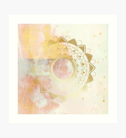 Quiet your mind pink and white hand drawn mandala Art Print