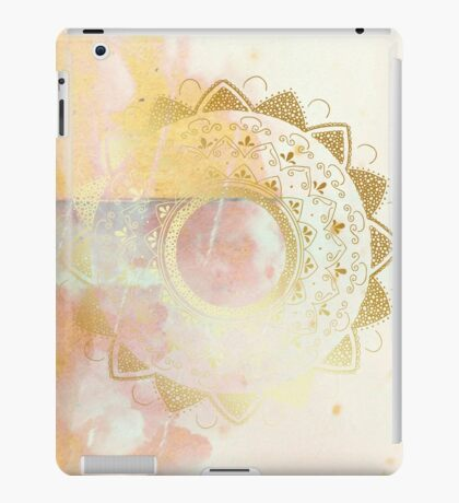 Quiet your mind pink and white hand drawn mandala iPad Case/Skin