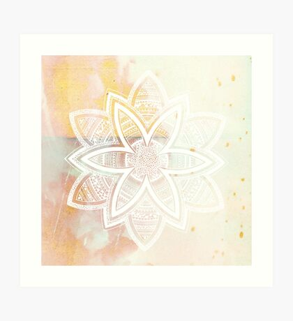 With the universe pink and white hand drawn mandala Art Print