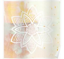 With the universe pink and white hand drawn mandala Poster
