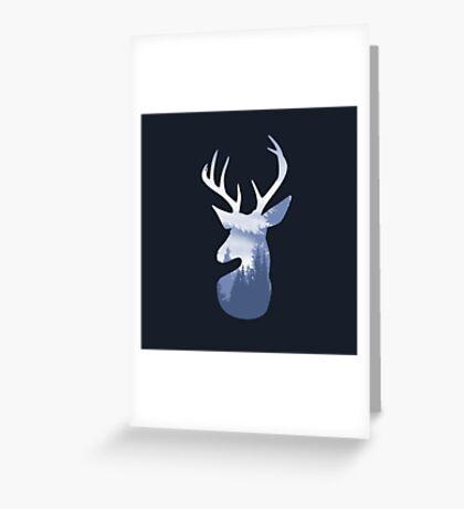 Deer Abstract Blue Landscape Design Greeting Card