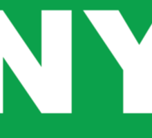 New York NY Euro Oval GREEN Sticker