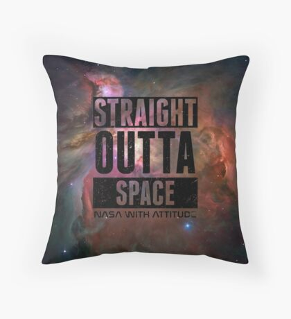 Straight Outta Space 2 Distressed Throw Pillow