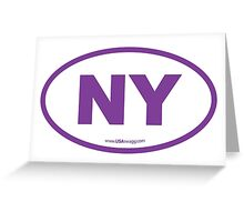 New York NY Euro Oval PURPLE Greeting Card