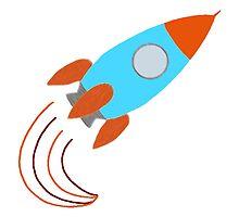 Orange and Blue Rocket Ship by BeachBumFamily