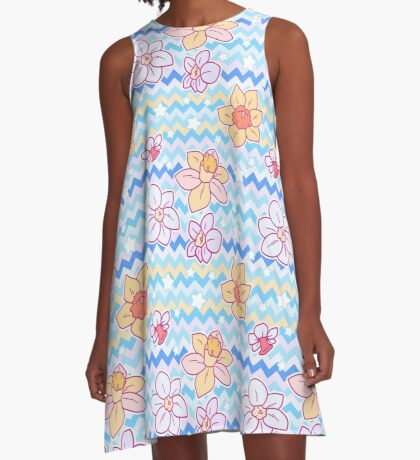 Daffodil Chevron Pattern A-Line Dress