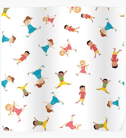 seamless pattern with cartoon kids,white background, Poster
