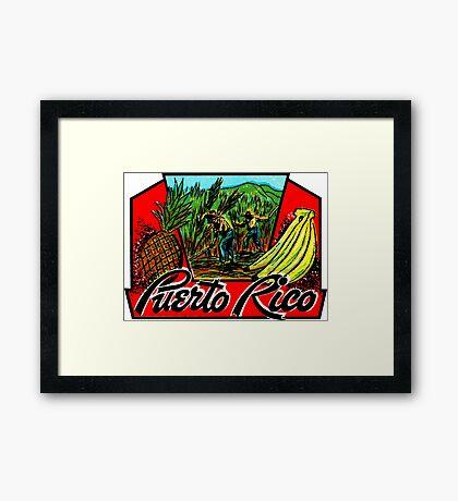 Puerto Rico Vintage Travel Decal Framed Print