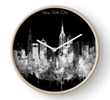 My artistic view of New York city. The design is a mixed technique of hand-painted watercolor and computer processing. Clock