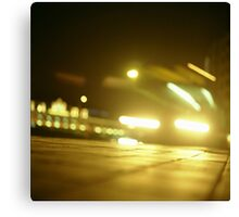 Bus in street at night square Hasselblad medium format  c41 color film analogue photograph Canvas Print