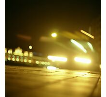 Bus in street at night square Hasselblad medium format  c41 color film analogue photograph Photographic Print