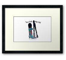 Ski and boarder friends Framed Print