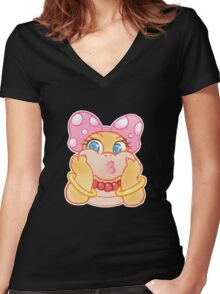 Wendy O. Koopa Cute Women's Fitted V-Neck T-Shirt