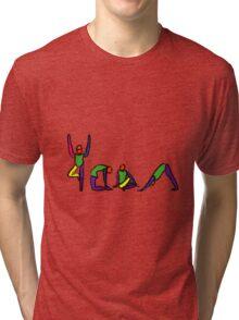 Painting of yoga poses spelling YOGA. Tri-blend T-Shirt