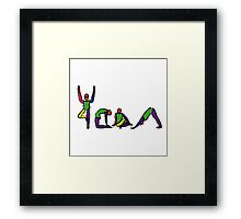 Painting of yoga poses spelling YOGA. Framed Print