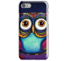 Colorful Night Owl in Tree Watercolor Painting iPhone Case/Skin