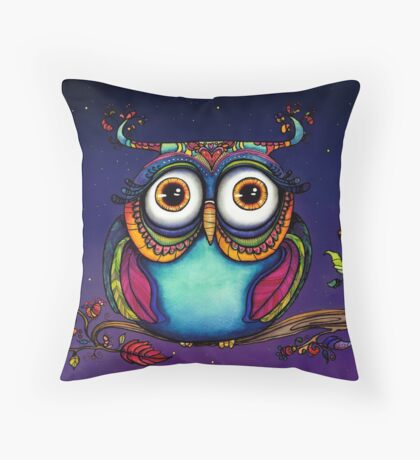 Colorful Night Owl in Tree Watercolor Painting Throw Pillow