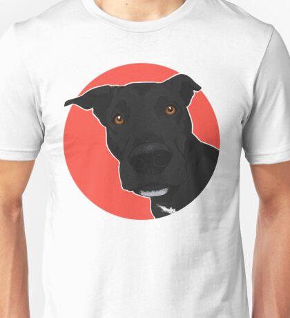 AXL - Red Background / mixed breed dog black lab pit bull mutt cute art Unisex T-Shirt