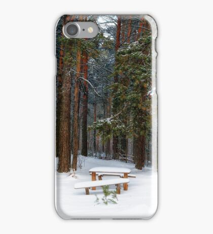 bench in winter forest iPhone Case/Skin