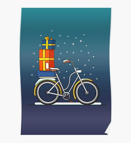 Bicycle with gifts. Poster