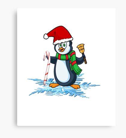 Penguin ready for Christmas Snowflake Xmas T-Shirt Canvas Print