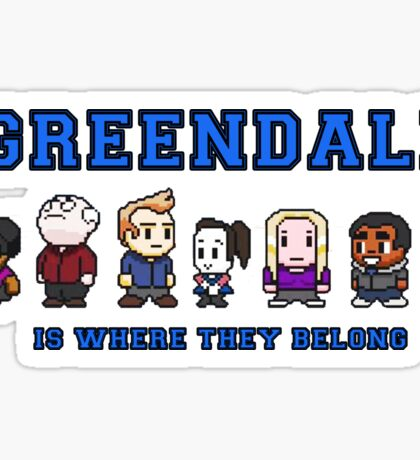 8-bit Greendale is Where They Belong (College Text) Sticker