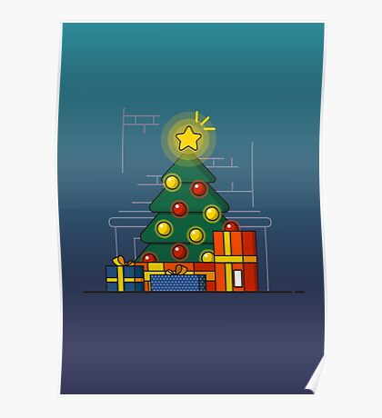 Christmas tree with gifts. Poster