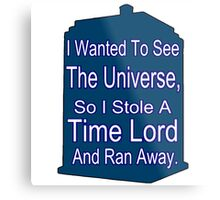 I Stole A Time Lord Metal Print