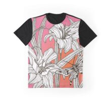 Daylilies on Pink and Orange Background Graphic T-Shirt