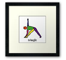 Painting of triangle yoga pose with Sanskrit text. Framed Print