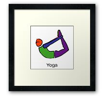 Painting of bow yoga pose with yoga text. Framed Print