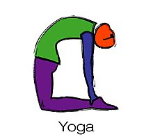 Painting of cobra yoga pose with yoga text. Photographic Print