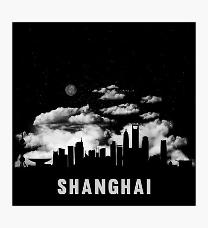 Shanghai China Skyline Cityscape Night Photographic Print