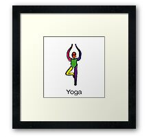 Painting of tree yoga pose with yoga text. Framed Print