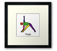 Painting of triangle yoga pose with yoga text. Framed Print
