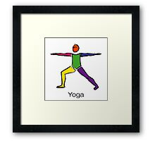 Painting of warrior 2 yoga pose with yoga text. Framed Print