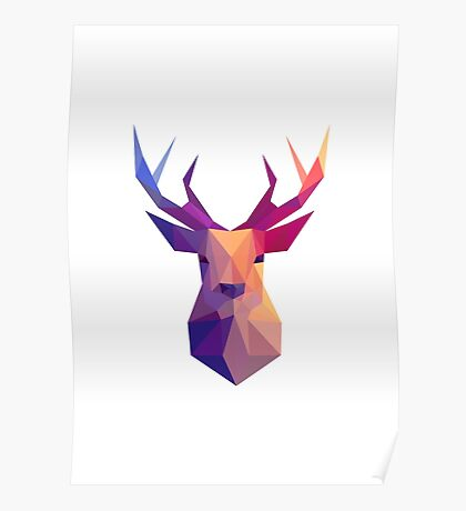 Reindeer low poly. Poster